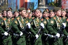 Próba kostiumowa parada na cześć zwycięstwo dzień na placu czerwonym na 7 może 2017 Kadeci Moskwa rozkazu wojskowego wysoki sc Fotografia Royalty Free