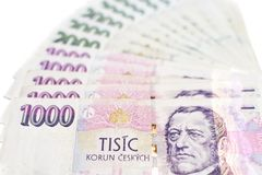 Próbka Czeska papierowa waluta zdjęcie stock