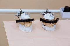 Próbki jawbone Wyposażenie dentysta, narzędzia, medyczni instrumenty pojęcie zdrowy Fotografia Royalty Free