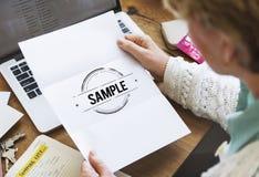 Próbki opci dane materiału Próbny Wybiera pojęcie Obraz Stock