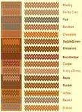 Próbki trykotowe przędze i ciepła paleta kolory z imionami ilustracja wektor