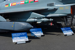 Próbki zawieszenie ręki, pociski i powietrzne bomby multirole wojownik Eurofighter Typhoon, Fotografia Royalty Free