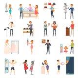 Próbujący Sklepowych Płaskich ludzi ikona setu Zdjęcie Royalty Free
