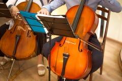 próximo acima de um homem e de uma mulher que jogam o violoncelo, um concerto real fotografia de stock royalty free