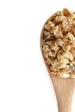 Próximo do Granola isolado acima no fundo branco Imagens de Stock Royalty Free