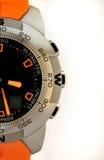 Próximo do relógio de pulso isolado acima no branco Foto de Stock Royalty Free