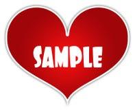PRÖVKOPIA på röd hjärtaklistermärkeetikett royaltyfri illustrationer