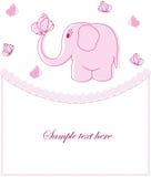 Prövkopiakort med den rosa elefanten Royaltyfria Bilder