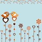 Prövkopiakort med fåglar Arkivfoto