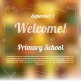 Prövkopiamall av inbjudan till grundskola för barn mellan 5 och 11 år Stock Illustrationer