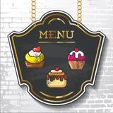 Prövkopian för vektorn för menyn för den svart tavlan för beståndsdelar för den fastställda designen märker shapes_ Royaltyfri Foto