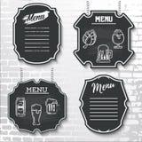 Prövkopian för vektorn för menyn för den svart tavlan för beståndsdelar för den fastställda designen märker shapes_ Royaltyfri Fotografi