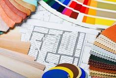 Prövkopior av den materialfärger, upholstery och räkningen Royaltyfria Foton