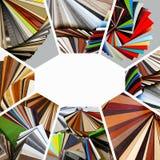 Prövkopior av färg av countertops och particleboard stock illustrationer