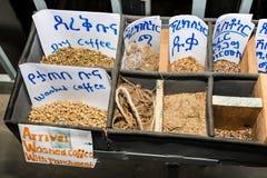 Prövkopior av olika rå kaffebönor royaltyfri foto