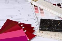 prövkopior för byggnadsfärgprojekt Arkivfoton