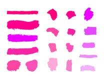 Prövkopior för vektorskönhetsmedelmellanrum, uppsättning av olika signaler, sminkslaglängder på vit bakgrund vektor illustrationer