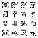 Prüfcode, Barcode, QR-Codeleser-Icons-Satz Lizenzfreies Stockfoto