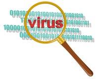 Prüfen Sie Virus im Vergrößerungsglas Stockbilder