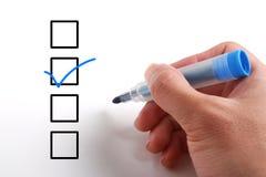 Prüfung der Checklistenkästen stockfotografie