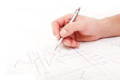 Prüfung der technischen Zeichnungen Stockbilder