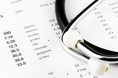 Prüfungsergebnisse mit Stethoskop Lizenzfreies Stockfoto