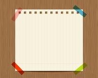 Prążkowany papier notatnik na drewnianej ścianie ilustracji