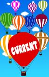 PRĄD pisać na gorące powietrze balonie z niebieskiego nieba tłem ilustracja wektor