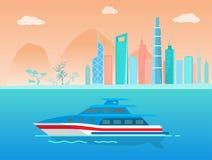 Prędkość jacht na wody powierzchni blisko wybrzeżu miasto royalty ilustracja