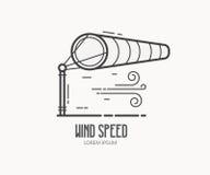 Prędkość Wiatru logo z Windsock obrazy stock