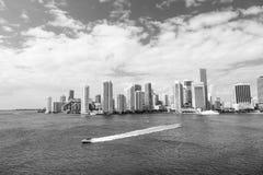 Prędkości łódkowaty żeglowanie obok Miami fotografia royalty free