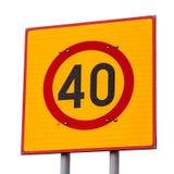 Prędkości limitroad znak odizolowywający na bielu Zdjęcie Stock