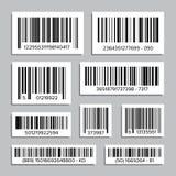 Prętowego kodu Ustalony wektor Abstrakcjonistyczne produktów Prętowych kodów ikony Dla Skanować UPC etykietka button ręce s push  Zdjęcia Stock