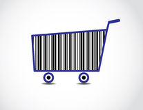 Prętowego kodu wózek na zakupy ilustracja Fotografia Stock