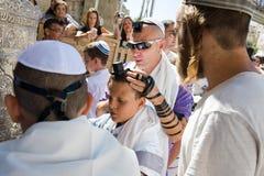 Prętowego Mitzvah rytuał przy Wy ścianą Fotografia Royalty Free
