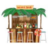 Prętowi bungalowy na plażowym oceanu wybrzeżu Fotografia Royalty Free