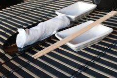 prętowy chopsticks suszi ręcznik obrazy stock