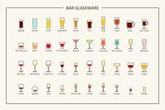 Prętowy glassware przewdonik, barwione ikony Horyzontalna orientacja wektor ilustracja wektor