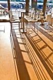 Prętowy krzesło w wczesnego poranku świetle przy lotniskiem Obraz Royalty Free