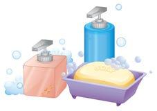 Prętowy mydło i ciecz Fotografia Royalty Free