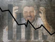 Prętowy wykres niskie sprzedaże i bankrutującego prevision grunge brudny złożony projekt z zmęczonym sfrustowanym biznesmenem Obraz Stock