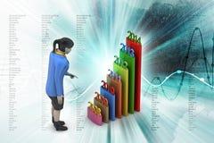 Prętowy wykres pokazuje równomiernego wzrost z rok i kobietą Fotografia Stock
