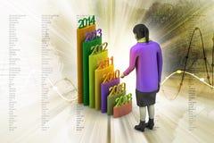 Prętowy wykres pokazuje równomiernego wzrost z rok i kobietą Zdjęcie Stock
