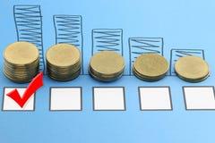 prętowy wykres Złociste monety na błękitnych papierowych dokumentach ma i Czerwonym czeku Obraz Royalty Free
