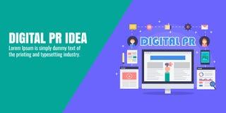 PR战略,数字式新闻发布,新闻出版物,网上杂志,美满的营销概念 平的设计横幅 库存例证