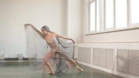 Pr?ctica del ballet Beaty y tolerancia del bailar?n de ballet profesional de sexo femenino en escena metrajes