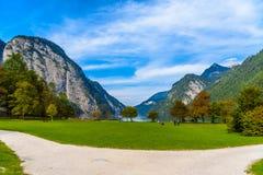 Pr? d'herbe dans Koenigssee, Konigsee, parc national de Berchtesgaden, Bavi?re, Allemagne images libres de droits