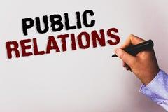 PR för ordhandstiltext Affärsidé för backgr för vit för text för publicitet för information om folk för kommunikationsmassmedia s arkivfoton