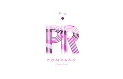 pr p r alphabet letter logo pink purple line icon template vecto Royalty Free Stock Photos