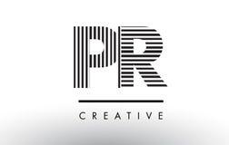 PR P R Black and White Lines Letter Logo Design. Stock Photography